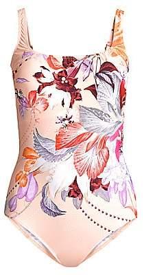 Gottex Swim Women's Squareneck Floral One-Piece Swimsuit