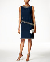 J Kara Beaded Capelet Dress