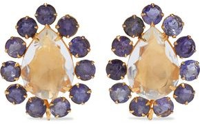 Bounkit 14-karat Gold-plated, Quartz And Iolite Earrings