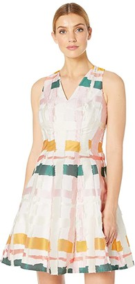 Maggy London Clipped Ribbon Plaid Fit and Flare (Blush Multi) Women's Dress