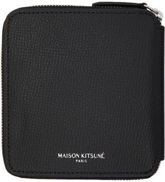 MAISON KITSUNÉ Black Square Zip Wallet