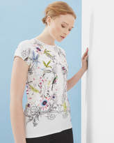 Ted Baker Passion Flower Fitted T-shirt Ivory