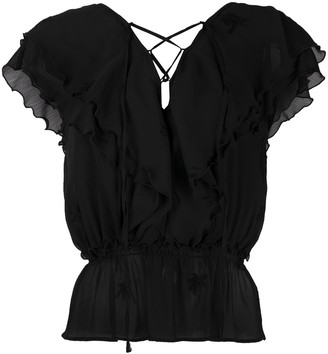 Liu Jo Ruffled Lace-Up Blouse