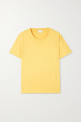 Saint Laurent Distressed Embroidered Cotton-jersey T-shirt - Mustard