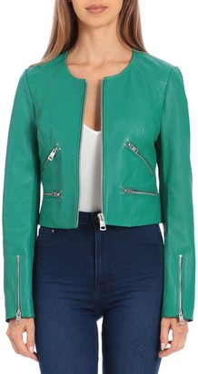 Bagatelle NYC Cropped Leather Zipper Moto Jacket