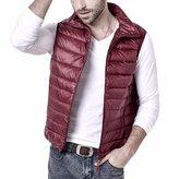 QIYUN.Z Men's Lightweight Down Jacket Packable Stand Collar Wind-Resistant Vests