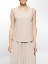 Calvin Klein Perforated Faux Suede-Front Top