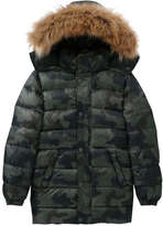 Joe Fresh Kid Boys' Camo Puffer Jacket, Army Green (Size S)