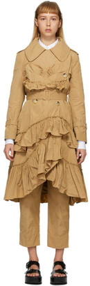 Simone Rocha Tan Frilled Trench Coat