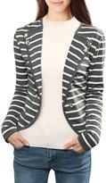 Allegra K Women's Notched Lapel Button Decor Striped Blazer M White