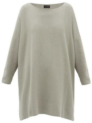 eskandar Moss-stitched Longline Cotton Sweater - Grey