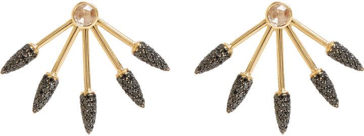 "Black Diamond Pamela Love Fine Jewelry Black Diamond, White Diamond & Gold ""Five Spike"" Earrings"