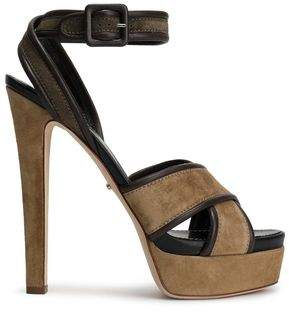 Sergio Rossi Hannelore Leather-trimmed Suede Platform Sandals
