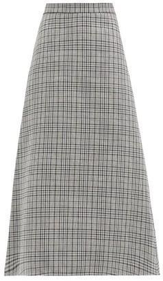 MSGM A-line Checked Midi Skirt - Grey
