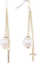 Natasha Accessories Double Chain Faux Pearl Drop Earrings