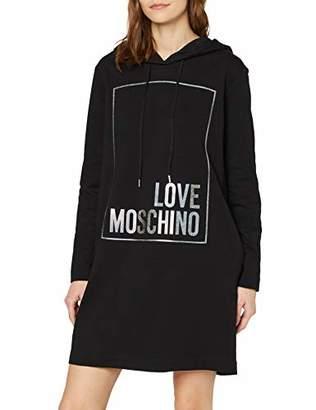 Love Moschino Women's Long Sleeve Hooded Stretch Fleece Dress_Logo Box Print,6 (Size: 38)