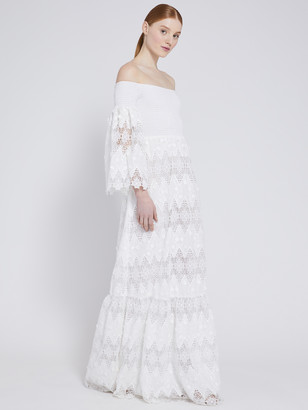 Alice + Olivia Roseline Off Shoulder Maxi Dress
