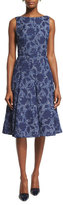 Oscar de la Renta Sleeveless Fit-and-Flare Day Dress, Navy