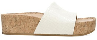 Veronica Beard Dresdyn Snakeskin-Embossed Leather & Cork Platform Slides