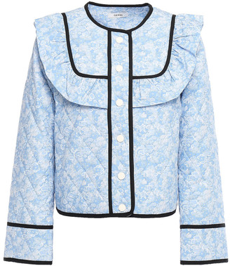 Ganni Sage Ruffled Quilted Floral-print Cotton Jacket