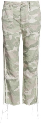 Mother The Shaker Mid-Rise Crop Fray Hem Camo Racing Stripe Trousers
