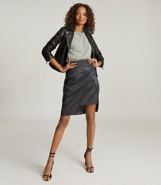 Reiss Eliza - Metallic Pencil Skirt in Black