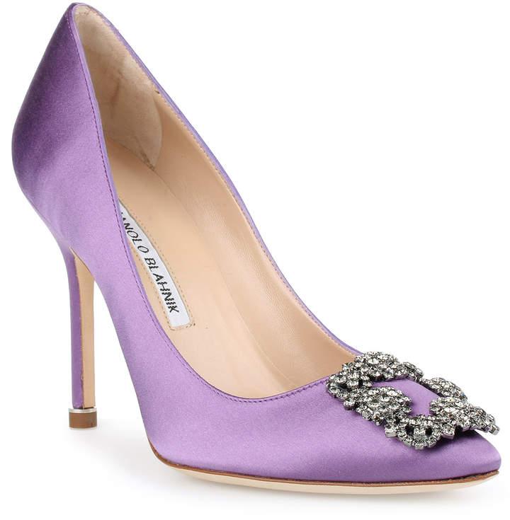 Manolo Blahnik Hangisi 105 violet satin pump