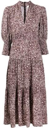 BA&SH Tiered Abstract Print Dress