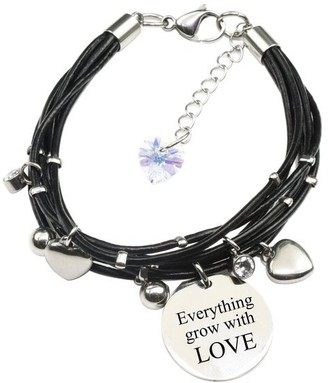 Pink Box Genuine Leather Bracelet made with Crystals from Swarovski - Everything grows