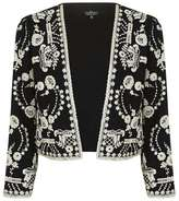 Petite lace embroidered jacket