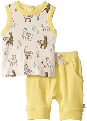 finn + emma Llama Tank Tee Set (Infant/Toddler) (Llama) Kid's Active Sets