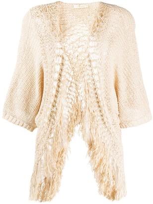 Mes Demoiselles Fringed Crochet Cardigan