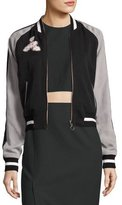 Elizabeth and James Willa Reversible Embroidered Colorblock Bomber Jacket, Black/Pink