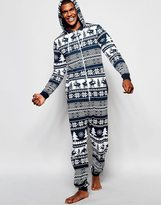 Asos Loungewear Onesie With Reindeer Fair Isle Print - Blue