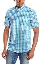 Dockers Short Sleeve Plaid No Wrinkle Button Down Collar Shirt