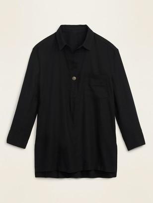 Old Navy Linen-Blend Popover Tunic Shirt for Women