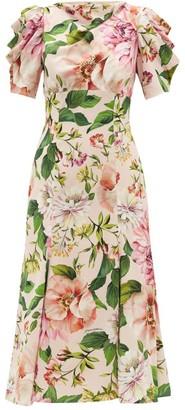 Dolce & Gabbana Floral-print Silk-charmeuse Dress - Womens - Pink Print