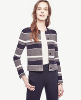Ann Taylor Navy Stripe Pocket Sweater Jacket