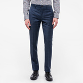 Men's Mid-Fit Navy Wool Check Trousers