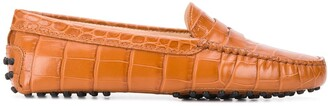 Tod's Crocodile Embossed Penny Loafers
