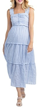 Nom Maternity Emma Tiered Striped During & After Dress