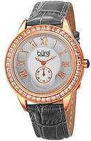 Burgi Women's BUR144GY Rose Gold Quartz Watch With Silver Dial and Swarovski Crystal Accented Bezel And Gray Leather Strap