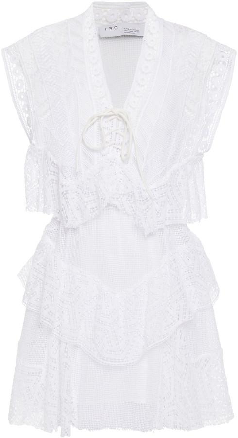 IRO Fairy Tiered Cotton Guipure Lace Mini Dress