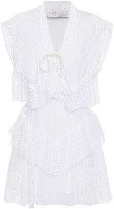 IRO Fairy Tiered Cotton Guipure Lace Mini Dress
