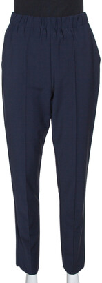 Fendi Navy Blue Stretch Wool Blend Tapered Trousers S