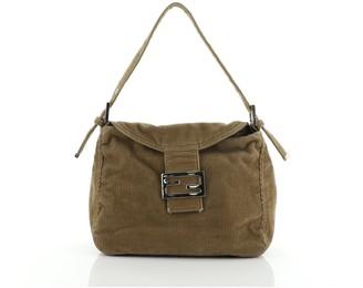 Fendi Vintage Flap Shoulder Bag Corduroy Small