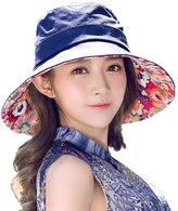 Siggi Womens Cotton Bucket Boonie Sun Hat Summer Cap Foldable Wide Brim UV SPF 50 Navy
