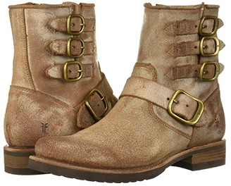 Frye Veronica Belted Short (Black Brush Off Full Grain) Cowboy Boots