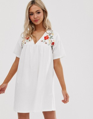 Asos Design DESIGN embroidered ultimate cotton smock dress