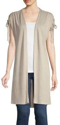 Bobeau B Collection By Tie-Shoulder Open-Front Cardigan